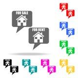公寓象销售和租  房地产的元素在多色的象的 优质质量图形设计象 简单的图标 库存照片