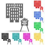 公寓象销售和租  房地产的元素在多色的象的 优质质量图形设计象 简单的图标 免版税图库摄影