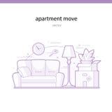 公寓移动线传染媒介例证 免版税库存照片