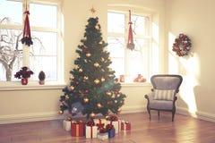 公寓-客厅-圣诞节-减速火箭的神色 免版税库存图片