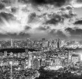 公寓结构大厦大厦具体玻璃高日本现代住宅上升钢东京塔耸立 城市大厦美好的鸟瞰图在晚上 图库摄影