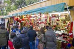 公平圣诞老人Llucia的圣诞节,巴塞罗那 库存照片