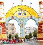 公平地唱歌和跳舞在塞维利亚` s 4月的人们 Feria de Abril The公平的4月 ` El真正的` 免版税库存照片