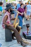 公平霍桑的街的,波特兰,俄勒冈街道音乐家 库存照片