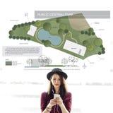 公开中央公园村庄公共放松计划概念 免版税库存图片