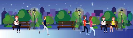 公开夜公园妇女人长木凳户外走的连续绿色草坪树坐城市大厦模板 皇族释放例证