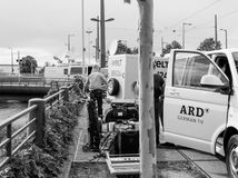 公开播报员财团在德国ARD卡车的在活e 库存图片