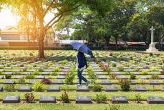 公开第二次世界大战的联盟的囚犯的战争公墓历史纪念碑在泰国 库存照片