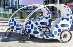 公开自行车租务在戛纳,法国 免版税图库摄影