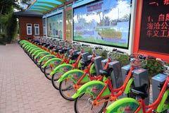 公开自行车运输系统在amoy城市 免版税库存图片