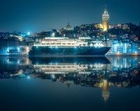 公开轮渡和伊斯坦布尔老区看法  免版税库存图片