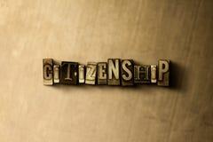 公民身份-脏的葡萄酒在金属背景的被排版的词特写镜头  皇族释放例证