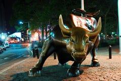 公牛充电的城市新的街道墙壁约克 免版税图库摄影