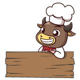 公牛厨师倾斜标志木头 库存例证