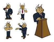 公牛摆在诉讼 免版税库存图片