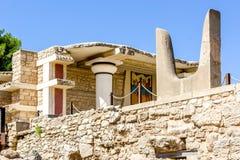 公牛角在Knossos宫殿 库存图片