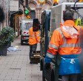 公益sweeper van cleaning在Strasbou以后的血液踪影 免版税库存图片