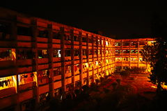 公立大学宿舍或住宅大厅在孟加拉国 免版税库存照片