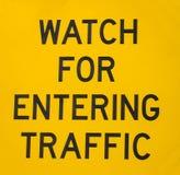 公路交通标志,交通输入 免版税库存照片