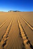 公路车辆在珊瑚桃红色沙丘的轨道陈述在南部的UT的储备 免版税库存照片