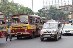 公路运输在加尔各答,印度 库存图片