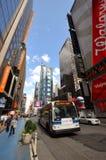 公车运送城市mta新的方形时间约克 图库摄影