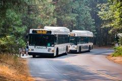 公车运送穿梭游人在位于优胜美地国家公园的各种各样的兴趣点之间 免版税库存照片