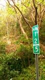 公里标志在密林 库存照片