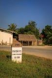 0公里里程碑标志向琅勃拉邦,老挝 免版税库存图片