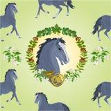 公马传染媒介无缝的纹理黑色马头  免版税库存照片