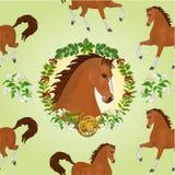 公马传染媒介无缝的纹理hestnut马头  库存照片
