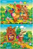 公鸡狐狸野兔 免版税库存图片