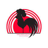 公鸡的剪影在朝阳的背景的 中国新年度 免版税库存图片
