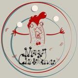 公鸡祝愿圣诞快乐 库存照片