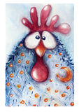 公鸡,画在水彩 图库摄影