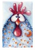 公鸡,画在水彩 免版税库存图片