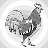 公鸡,黑白图画 庄严雄鸡的被策划的图片在同心圆的仿造了灰色背景 免版税库存图片