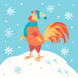 公鸡 在冬天衣裳的动画片公鸡 新的符号年 免版税库存图片