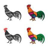 公鸡2的剪影 免版税库存照片