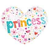 公主心形的印刷术书信设计 皇族释放例证