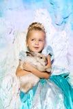 公主礼服的小女孩在冬天神仙的背景 免版税库存图片
