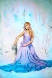 公主礼服的少妇在冬天神仙的背景 库存图片