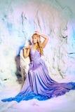 公主礼服的少妇在冬天神仙的背景 免版税库存图片