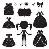 公主被设置的礼服剪影 动画片黑白便携的项目 向量例证
