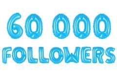 六万个追随者,蓝色颜色 免版税库存图片