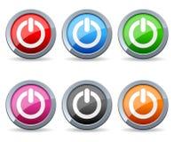 五颜六色的力量网按钮 免版税库存照片