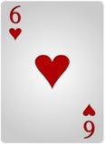 六个卡片心脏啤牌 库存图片