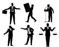 六个商人剪影 免版税库存图片
