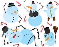 六个圣诞节雪人字符 库存例证