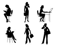 六个女实业家剪影 免版税库存图片